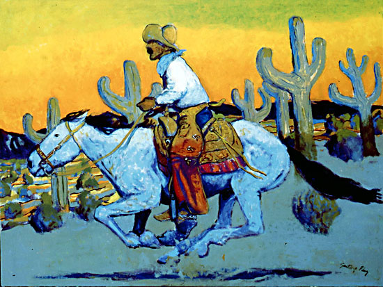 Cowboy in the Sunset ©Santiago Perez - Paintings of the West