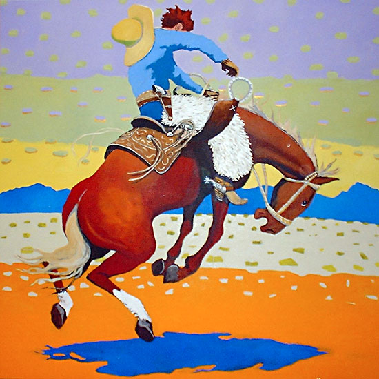 Ride the Red Pony ©Santiago Perez - Paintings of the West
