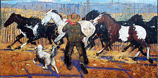 Rope that Boxhead ©Santiago Perez - Paintings of the West